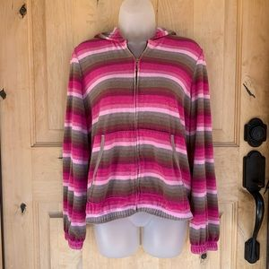 Juicy Couture Striped Zippered Hoodie Sweater